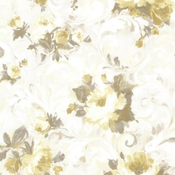 Jasmine Yellow Floral Scroll Wallpaper