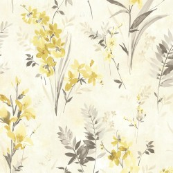 Henrietta Yellow Watercolor Floral  Wallpaper