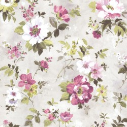 Amalia Purple Floral Garden Wallpaper