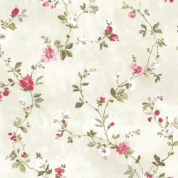 Isabella  Magenta Floral Trail Wallpaper