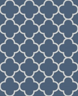 Origin Blue Quatrefoil Wallpaper