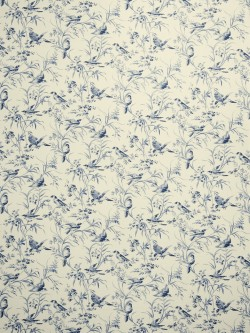 Lovely Aviary Toile Indigo Fabric