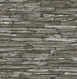 Stacked Slate Green Industrial Wallpaper