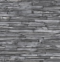 Stacked Slate Charcoal Industrial Wallpaper