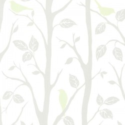 For Your Bath III Corwin Light Green Bird Branches Wallpaper