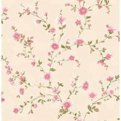 For Your Bath III Delphine Pink Floral Trail Wallpaper
