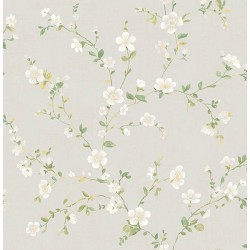 For Your Bath III Delphine White Floral Trail  Wallpaper