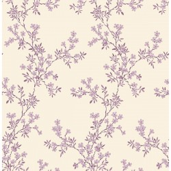 For Your Bath III Claire Purple Floral Trail Wallpaper