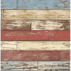 For Your Bath III Levi Red Scrap Wood Wallpaper