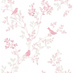 For Your Bath III Chirp Pink Birds & Trees Wallpaper