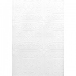 For Your Bath III Talavera White Flower Tile Paintable Wallpaper