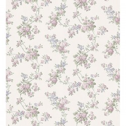 For Your Bath III Gretchen Pastel Floral Trail Wallpaper