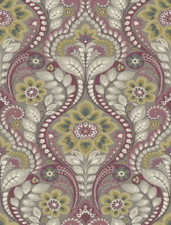2763-12103 Night Bloom Grey Damask Wallpaper