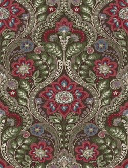 2763-12105 Night Bloom Chocolate Damask Wallpaper