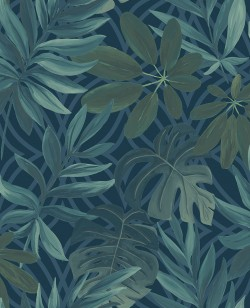 2763-24201 Nocturnum Blue Leaf Wallpaper