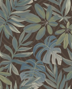 2763-24202 Nocturnum Brown Leaf Wallpaper