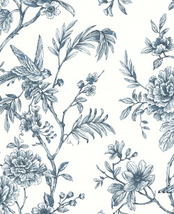 2763-24235 Jessamine Blue Floral Trail Wallpaper