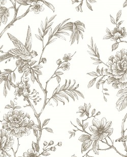 2763-24236 Jessamine Taupe Floral Trail Wallpaper