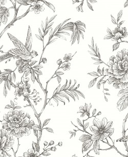 2763-24237 Jessamine Grey Floral Trail Wallpaper