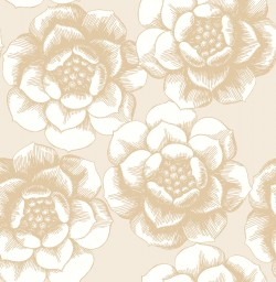 2763-24241 Fanciful Gold Floral Wallpaper