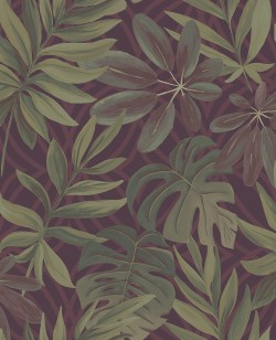 2763-24243 Nocturnum Maroon Leaf Wallpaper