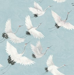 2764-24300 Windsong Blue Crane Wallpaper