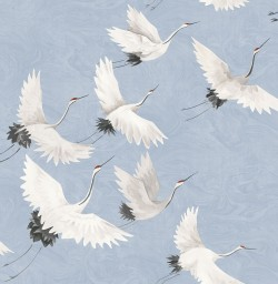 2764-24303 Windsong Periwinkle Crane Wallpaper