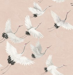 2764-24305 Windsong Pink Crane Wallpaper