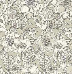 2766-003541 Vera Taupe Flowers Wallpaper