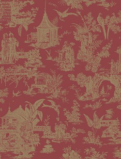 2766-21766 Ume Red Toile Wallpaper