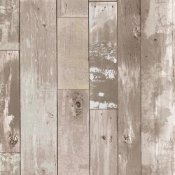 2767-20132 Harbored Neutral Distressed Wood Panel Wallpaper
