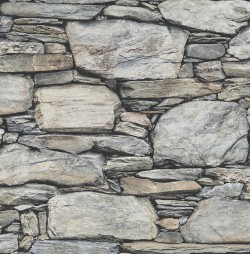 2767-22304 Cobble Light Grey Stone Wall Wallpaper