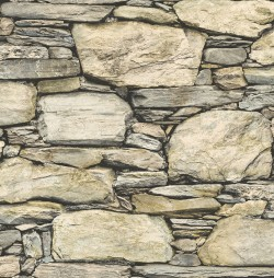 2767-22317 Cobble Neutral Stone Wall Wallpaper