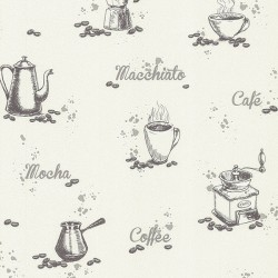 Nell Ivory Coffee Wallpaper