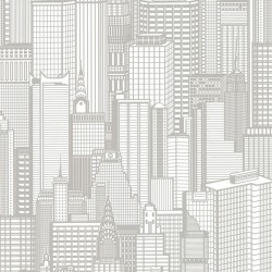 Aston Light Grey City Wallpaper