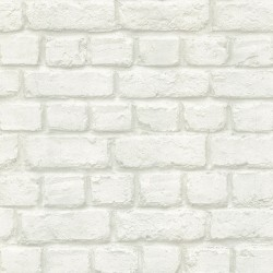 Chugach White Whitewashed Brick Wallpaper