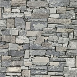 Wrangell Grey Stacked Slate Wallpaper