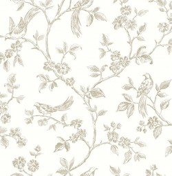 2813-24974 Ray Taupe Bird Trail Wallpaper