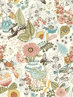 2821-12802 Whimsy Pink Fauna Wallpaper