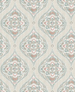 2821-25150 Adele Teal Damask Wallpaper