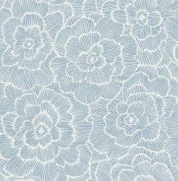 2969-26038 Periwinkle Grey Textured Floral Wallpaper