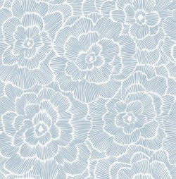 2969-26039 Periwinkle Blue Textured Floral Wallpaper