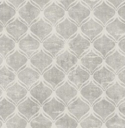 3114-003331 Bowery Silver Ogee Wallpaper