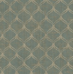 3114-003332 Bowery Teal Ogee Wallpaper