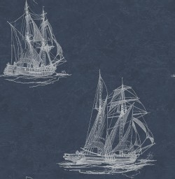 3114-003338 Hudson Bay Navy Nautical Wallpaper
