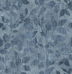 3114-003381 Gramercy Park Blue Leaf Wallpaper