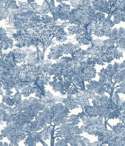 Spinney Blue Toile Wallpaper