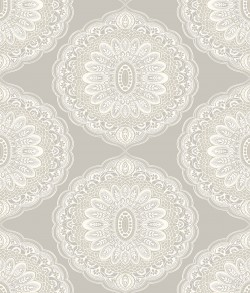3117-12301 Bolinas Grey Medallion Wallpaper