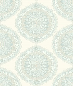3117-12303 Bolinas Aquamarine Medallion Wallpaper