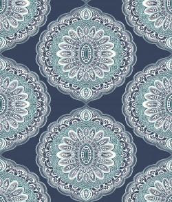 3117-12304 Bolinas Navy Medallion Wallpaper